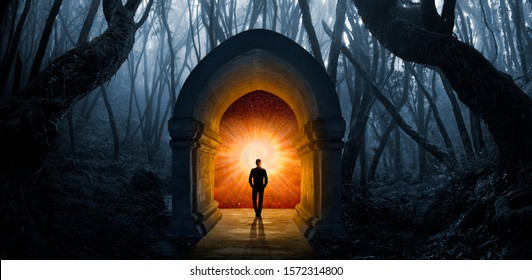 Door in the forest towards another dimension