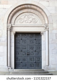 Door of the Grossmunster cathedral in Zurich