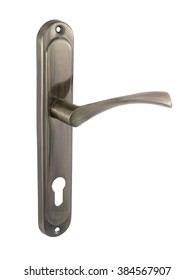 Door handle of bronze on a white background side view