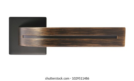 Door handle of copper color on a white background