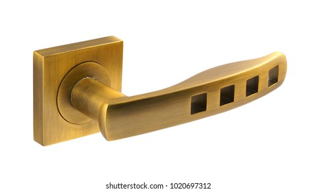 Door handle of gold on a white background side view