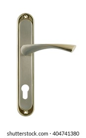 Door handle of gold on a white background front view