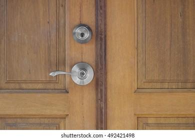 door handle and keyhole on wooden door