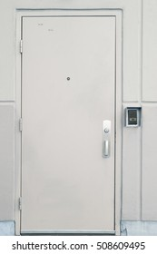 Door with handle, lock and viewer in store