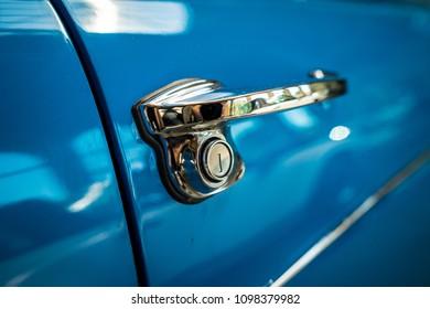 Door handle of an old car.