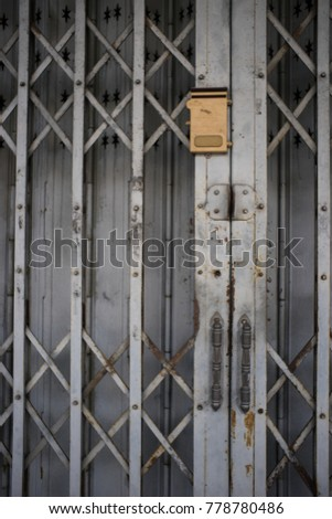 Door Handle On Accordion Metal Fence Stock Photo Edit Now