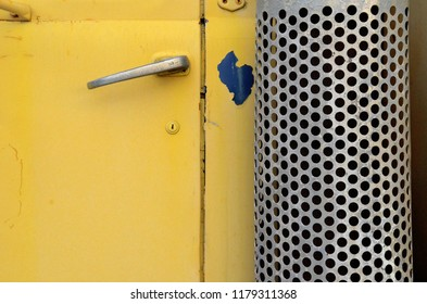 door handle on yellow truck