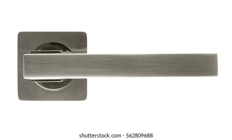 Door handle of silver on a white background front view