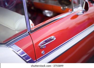 door handle of vintage car