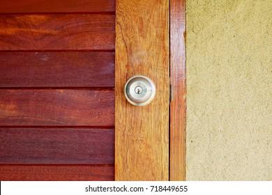 Door handle with wooden door background