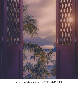 Door to the heaven. Abstract backgrounds with tropical landscape