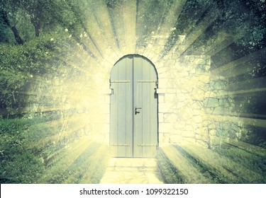 Door of the heaven in a dreamy rosegarden  with sunbeam