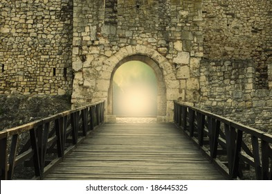 Door to Heaven. Light at end of the tunnel. Hope metaphor.