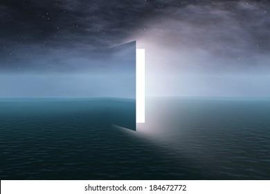 Door to heaven with stars