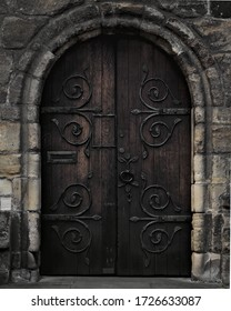 The door of Hexham Abbey; a medieval place of worship in Northumberland, North East England.