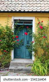 Door of a house with beautiful roses