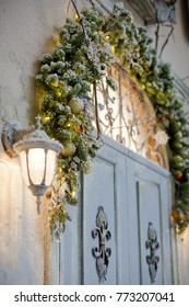 door of the house with Christmas decorations