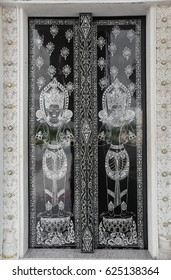 Door Indo-Thai  Art Temple at Wat Thung Suead Surat Thailand