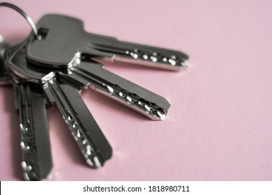 Door key lies on pink background. Set of keys. Bunch of keys. House key. New house concept. Rental and Selling.