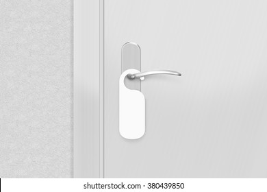 Door knob with blank doorhanger mock up. Empty white flyer mockup hang on door handle. Leaflet design on entrance doorknob. Dont disturb sign. Hotel room clear hanger. Do not disturbing signal.