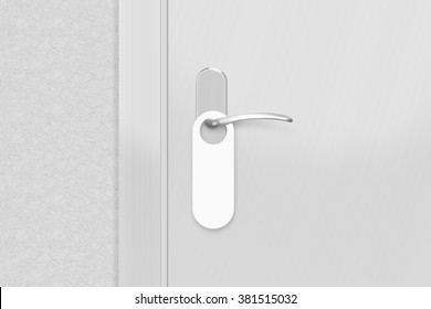 Door knob with blank doorhanger mock up. Empty white flyer mockup hang on doors handle. Leaflet design on entrance doorknob. Dont disturb sign. Door hanger clear. Do not disturbing paper symbol.