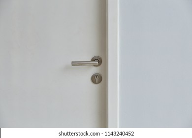 Door knob or handle on white door. Selective. Close up.
