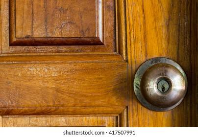 door knob, Door knob with wood door