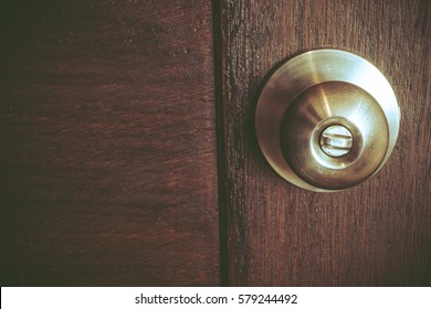 Door Knobs on wood door. Door lock