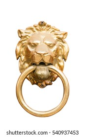 Door knocker with a gold lion