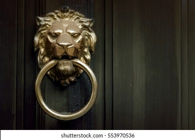 Door knocker in the shape of a golden lion. Toned