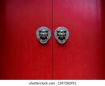The door and knockers of Chinese temple.