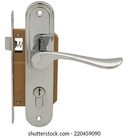 Door lock with handle isolated on white background