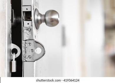Door lock on rusty door