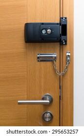 Door lock on wooden door