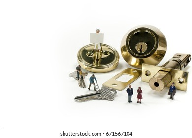 Door lock and parts on white background. Call a professional locksmith today.