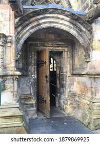 Door looking in to Roslyn chapel