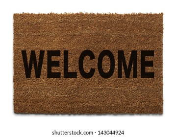 Door Mat From Top View Isolated on White Background.