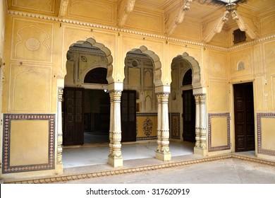 Door in Nahargarh Fort. Jaipur, Indian, Rajasthan.