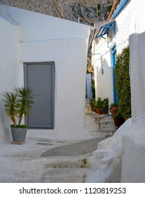 Door in a narrow picturesque street in Plaka, Athens
