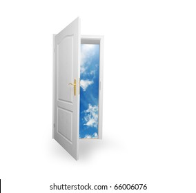 Door to new world. Open door to new life conceptual. Other original versions of this concept available in my portfolio.