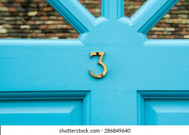 Door number 3 three conceptual image closeup