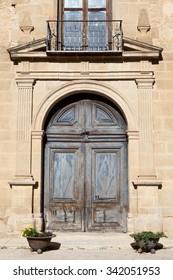 Door of an old church in Rubielos de Mora , Teruel, Spain