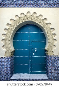 Door of old mosque in Tanger, Morocco