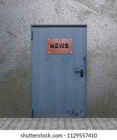 Door with old, rusty sign with the text News. 3d rendering