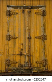 Door of an old train boxcar
