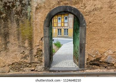 door in an old wall in Linz am Rhein, Germany
