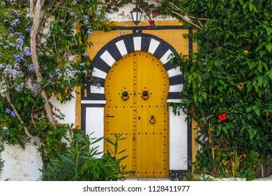 Door on the street of charming coastal town Sidi Bou Said close to Tunis capital, Tunisia