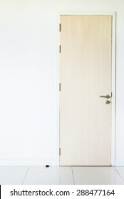 Door on white wall background