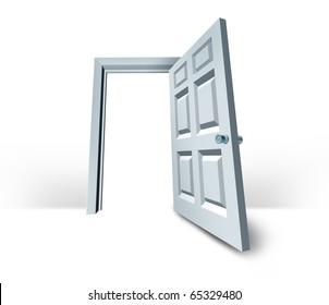 door opened  doorway success white blank isolated