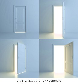 A door is opened for four stages. Four different positions of one door